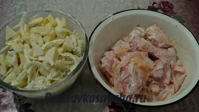 Курица с картошкой в духовке и рукаве